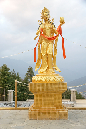 metres: Statue at the Buddha Dordenma, Thimphu, Bhutan. Buddha Dordenma is height 51.5 metres and it is made of bronze and gilded in gold. It is located on the top a hill Kueselphodrang Nature Park and overlooks the southern entrance of Thimphu valley.