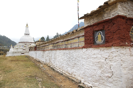 km: Chorten Kharo Casho, Chendebji, Bhutan. The chorten was built in 19th century by Lama Shida and it is 41 km away from Trongsa and just 2 km from Chendebji village.