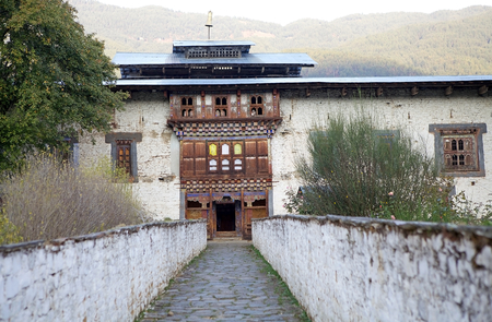 monarchy: Entrance at the Wangduechhoeling Palace ruins, Bumthang, Bhutan. The palace was built in 1856 by Trongsa Penlop Jigme Namgyel and it is the birthplace of the Bhutans monarchy.