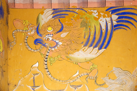 monarchy: Ancient painting at the Wangduechhoeling Palace ruins, Bumthang, Bhutan. The palace was built in 1856 by Trongsa Penlop Jigme Namgyel and it is the birthplace of the Bhutans monarchy.