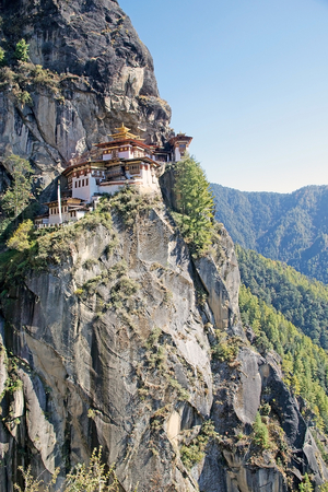 Tigers Nest, Paro, Bhutan. Taktsang Palphug Monastery also known as Tigers Nest is a prominent Himalayan Buddhist sacred site and temple complex. A temple complex was first built in 1692. According to the legend, it is believed that Guru Rimphoce flew t