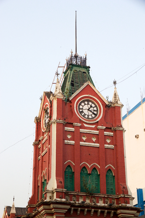 The tower of the New Market, Kolkata, india. New Market is an enclosed market located in Lindsay Street. The market was opened the 1st January 1874 and the 2nd December 1903 the market was officially named Sir Stuart Hogg Market and later shortened Hogg M Stock Photo