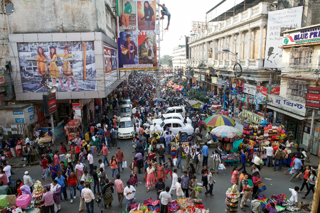 lindsay: Crowd of people near the New Market, Kolkata, india. New Market is an enclosed market located in Lindsay Street. The streets around the New Market are used to be an upscale shopping area Editorial