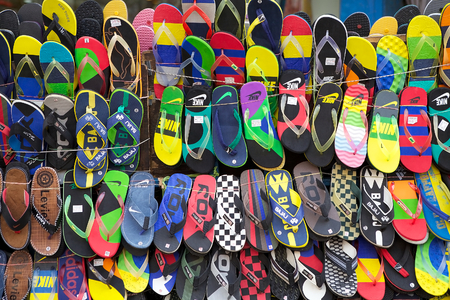 Sandals for sale near the New Market, Kolkata, india. New Market is an enclosed market located in Lindsay Street. The streets around the New Market are used to be an upscale shopping area Editorial