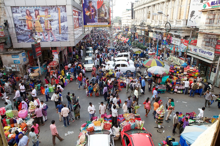 Crowd of people near the New Market, Kolkata, india. New Market is an enclosed market located in Lindsay Street. The streets around the New Market are used to be an upscale shopping area Editorial