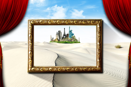 artisitc: Monuments around the world in a oasi among the desert dunes, with a frame, like a painting and curtains