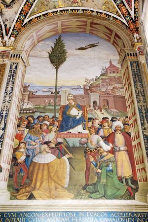 italian fresco: Painting in the Piccolomini library, Siena, Tuscany, Italy. Adjoining the Siena Cathedral is the Piccolomini library, housing precoius illuminated choir books and frescoes painted by Pinturicchio, probalby based on designs by Raphael