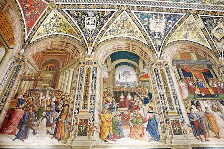 italian fresco: Paintings in the Piccolomini library, Siena, Tuscany, Italy. Adjoining the Siena Cathedral is the Piccolomini library, housing precoius illuminated choir books and frescoes painted by Pinturicchio, probalby based on designs by Raphael