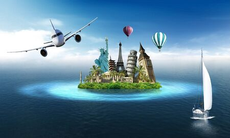 imaginary: Imaginary island with landmarks among the sea with sailing boat and airplane and hot air balloons in the sky Stock Photo