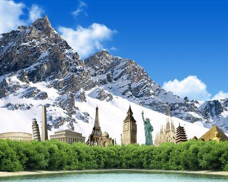 Imaginary mountain landscape with landmarks