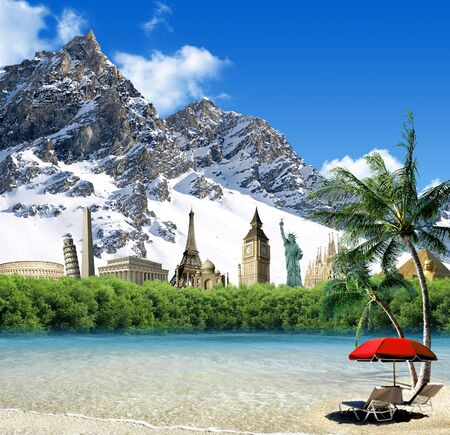 imaginary: Imaginary mountain landscape with landmarks among the snow with tropical beach and palms