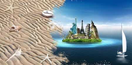 Imaginary island with landmarks among the sea with sailing boat and beach with shells Stock Photo