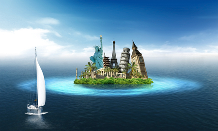 Imaginary island with landmarks among the sea with sailing boat Stock Photo