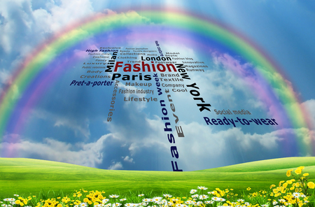 Fashion on landscape,with flower, grassland and rainbow in the sky
