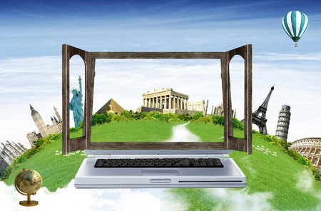 Computer with a imaginary window screen with monuments from around the world