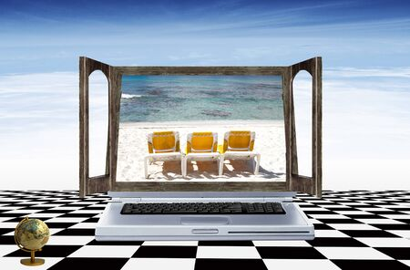 Computer on the black and white floor with a window screen with deck chairs and sea