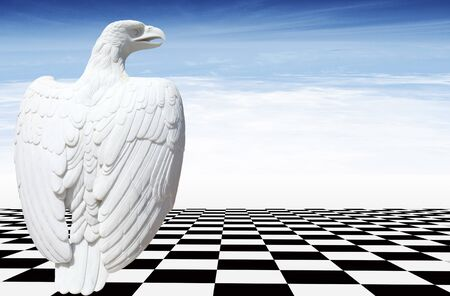 Marble eagle on the black and white floor with a sky with clouds in the backgroud Reklamní fotografie