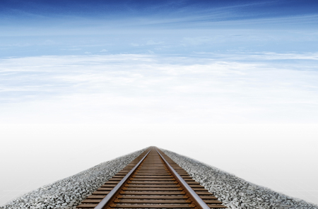 Imaginary railway runs to the horizon in a sky with clouds