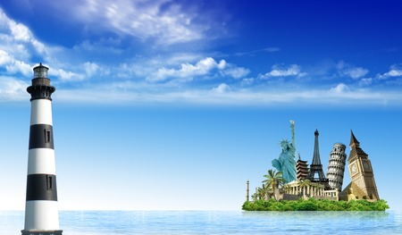 Imaginary island with monuments from around the wold in the ocean with a lighthouse