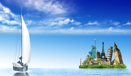 imaginary: Imaginary island with monuments from around the wold in the ocean with a sailing boat Stock Photo