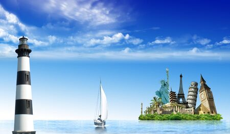 wold: Imaginary island with monuments from around the wold in the ocean with a lighthouse and sailing boat