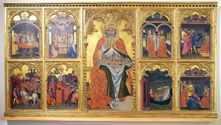 enthroned: Saint Geminianus Enthroned, Sories of his live and miracles, painting, tempera on wood 1401, by Taddeo di Bartolo, in the Collegiata church high altar, San Gimignano,Tuscany, Italy