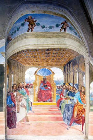 recognizes: How St Benedict recognizes leves the school at Rome fresco, date 1439. The frescoes of life of St Benedict was painted by Luca Signorelli an Sodoma in the Great Cloister in the Abbey of Monte Oliveto Maggiore, a Benedictin monastery 10 Km south of Ascanio