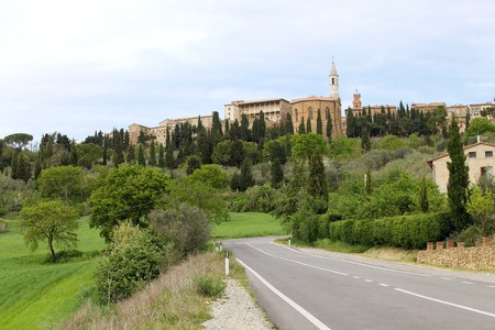 pius: The medieval town of Pienza, Tuscany, Italy. Pienza is a town in Province of Siena in the Val dOrcia and in 1996  . It was the birthplace of Aeneas Silvius Piccolomini, who later became Pope Pius II.