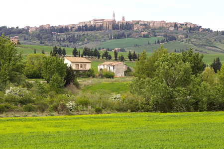 pius: The medieval town of Pienza, Tuscany, Italy. Pienza is a town in Province of Siena in the Val dOrcia   It was the birthplace of Aeneas Silvius Piccolomini, who later became Pope Pius II.