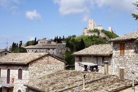 documented: Rocca Maggiore, Assisi, Italy. Rocca Maggiore dominated by more than eight hundred years the citadel of Assisi and the valley of Tescio. The first documented regarding the fortress date back to 1173.