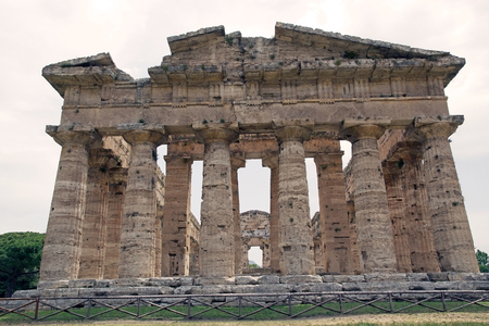 Neptune temple or Poseidon temple or Second temple of Hera at Paestum, Italy. The temple was built around 450 BC by the Greek colonist. Eighteenth-century archaeologist nemed it the Basilica. Paestum was a major ancient Greek city on the coast of Tyrrheni