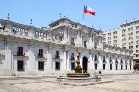 joaquin: Front view of La Moneda Palace, Santiago de Chile, Chile. La Moneda Palace is the seat of the President of the Republic of Chile. It was designed by italian architect Joaquin Toesca. Construction began in 1784. During the military coup detat, the 11th of Editorial