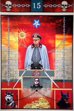 citizenry: Detail of a poster of Augusto Pinochet at the Palacio de La Moneda Cultural Center in Santiago de Chile, Chile. The cultural center is located under the Citizenry Square in the southern facade of the La Moneda palace. Editorial