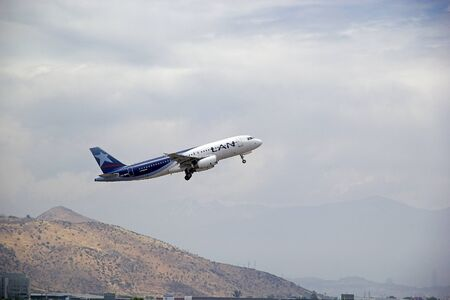 Lan Airlines airbus took off in Santiago airport, Chile. Lan Airlines was the flag carrier untill privatization in the 1990s. It is the predominant airline in Chile.
