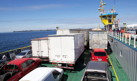 Ferry along the Chacao Channel, Chile. Chacao Channel separates chile from the Chiloe Archipelago.