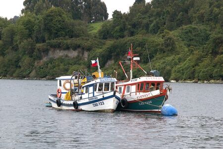Traditional fishing boat at Achao, Quinchao Ilsand, Chiloe Archipelago, Chile