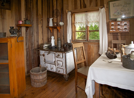 Interior of the farmhouse at the German Museum a Frutillar, a town in Southern Chile in the Los Lagos Region on the banks of Lake Llanquihue. The German Colony thath arrived to the city in 1856 built their house, watermill, warehouse and garden to live th Editorial