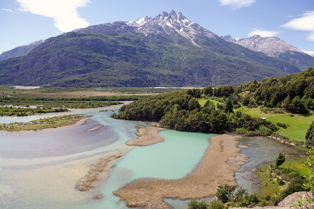 chilean: Patagonia landscape with Ibanez river and Andes in the background, Chile Stock Photo