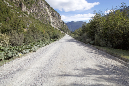 Landslide along the Carretera Austral in Chile. Carretera Austral is the Chiles Route 7, the highway that runs about 1200 km trough the rural Patagonia.