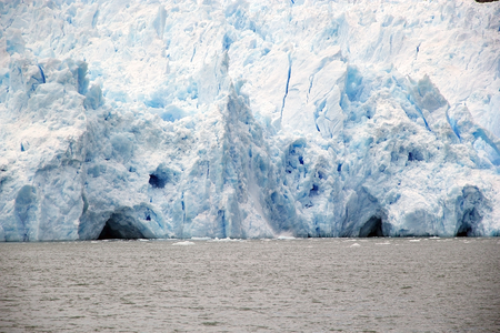Details of the front of the San Rafael Glacier view from the lagoon, Patagonia Chile. It is one of the major outlet glacier of the Northern Patagonia Ice Field in southern Chile and it is the glacier nearest the Equator. Stock Photo