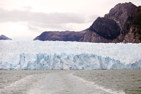San Rafael Glacier view from the lagoon, Patagonia Chile. It is one of the major outlet glacier of the Northern Patagonia Ice Field in southern Chile and it is the glacier nearest the Equator. Stock Photo