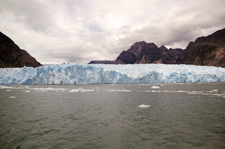 San Rafael Glacier view from the lagoon, Patagonia Chile. It is one of the major outlet glacier of the Northern Patagonia Ice Field in southern Chile and it is the glacier nearest the Equator. Editorial