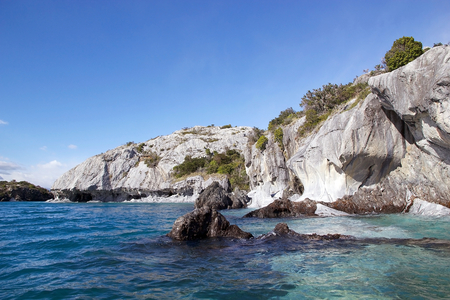 carrera: Geological fold along the shore of the General Carrera Lake, Patagonia, Chile