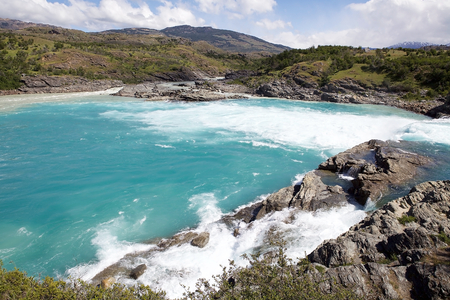 The Confluence of Baker River and Nef River, Patagonia, Chile. Baker River is the Chiles largest river in term of volume of water. Stock Photo