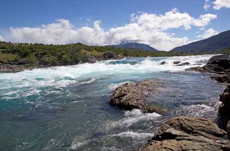 Rapids at the confluence of Baker River and Nef River, Patagonia, Chile. Baker River is the Chiles largest river in term of volume of water.