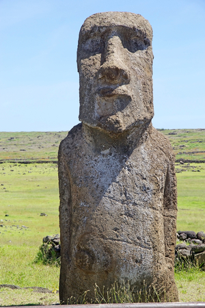 Moai at the Tonariki archaeological site, Easter Island, Rapa Nui, Chile. Easter Island is a Chilean island in the southeastern Pacific Ocean. It is famous for its 887 extant monumental statues called moai
