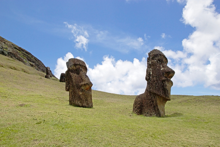 Moai at the Rano Raraku archaeological site, Easter Island, Rapa Nui, Chile. Easter Island is a Chilean island in the southeastern Pacific Ocean. It is famous for its 887 extant monumental statues called moai