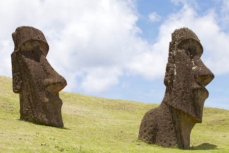 rapanui: Moai at the Rano Raraku archaeological site, Easter Island, Rapa Nui, Chile. Easter Island is a Chilean island in the southeastern Pacific Ocean. It is famous for its 887 extant monumental statues called moai