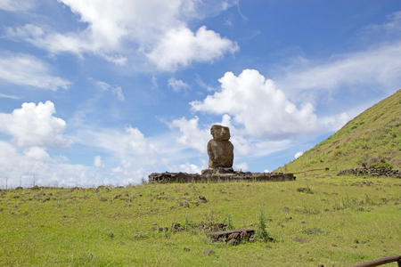 Moai, Ahu Ature at the Anakena beach, Easter Island, Rapa Nui, Chile. Easter Island is a Chilean island in the southeastern Pacific Ocean. It is famous for its 887 extant monumental statues called moai