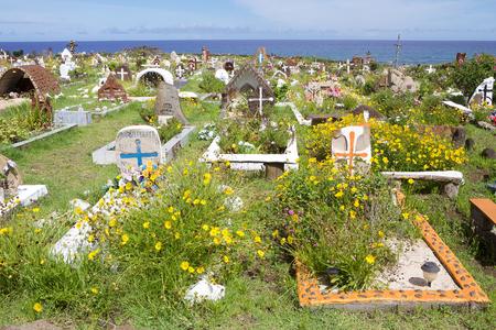 Traditional Burying Ground and island Cemetery in Hanga Roa, Easter Island, Chile